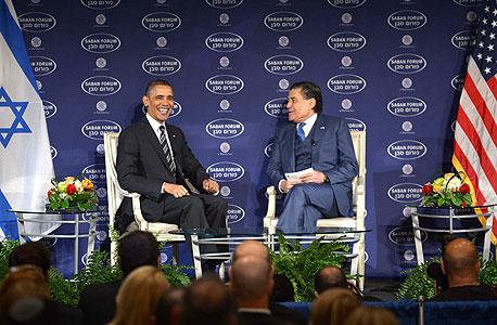 חיים סבן מראיין את ברק אובמה, צילום: שחר עזרן