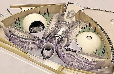"""הדמיית פרויקט אלמוג.  התוכנית הגרנדיוזית זכתה לכינוי """"הבית הלבן הישראלי"""", כשעיצובה כונה """"חייזרי"""", """"חרקי"""" ועוד כמה שמות מחמיאים פחות לצורת המבנה עצמו, שאמור להיבנות כולו מזכוכית משוריינת"""