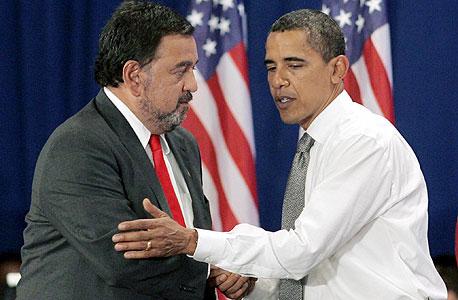 מימין ברק אובמה משמאל ביל ריצ'רדסון שר המסחר ממשל אובמה, צילום: אי פי אי