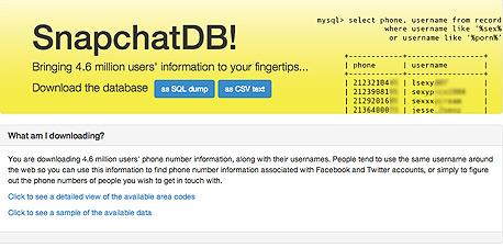 סנאפצ'ט snapchat דליפת פרטי משתמשים האקרים האקר