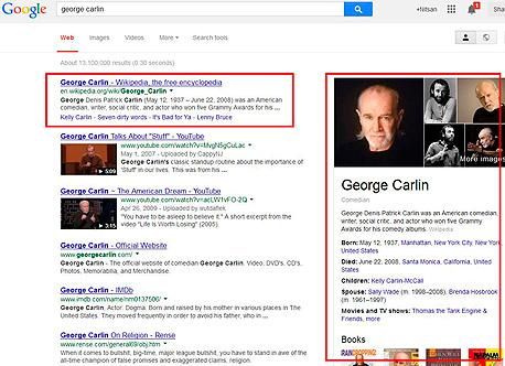 מימין, המידע המקוצר של גוגל. משמאל, התוצאה הראשונה, של ויקיפדיה. מי בולט יותר עבורכם?