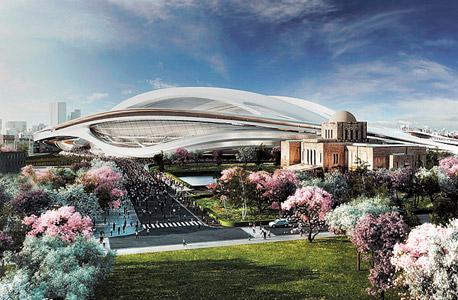 הדמיית האצטדיון האולימפי בטוקיו. חסויות כבר יש
