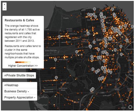 מפת סאן פרנסיסקו ג'נטרפיקציה פערים חברתיים אוטובוסים פרטיים גוגל