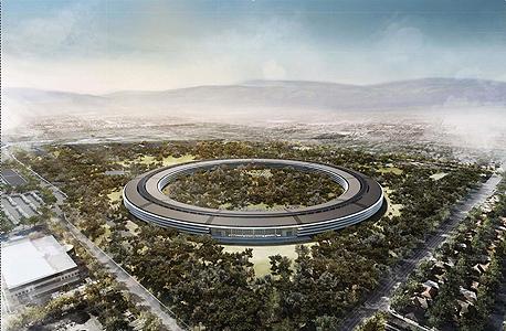 הדמיית המבנה החדש של אפל בקופרטינו קליפורניה, צילום: בלומברג