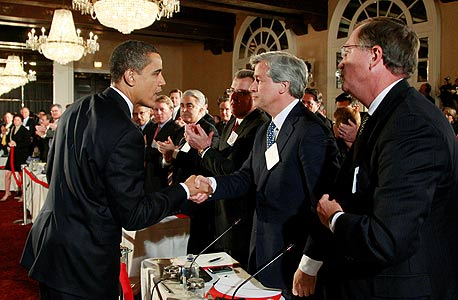 ברק אובמה ג'יי פי מורגן דיימן, צילום: רויטרס
