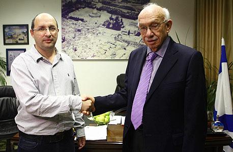 אביגדור קפלן אבי ניסנקורן חתימת הסכם הסתדרות הדסה, צילום: אוראל כהן
