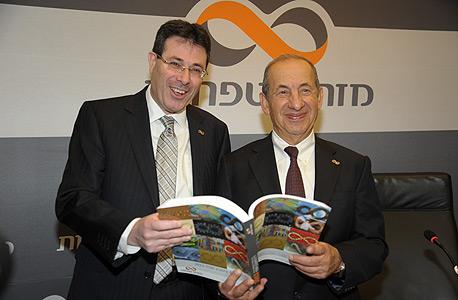 """מאזן 2013 מזרחי טפחות מנכ""""ל אלדד פרשר יושב ראש משה ולדמן, צילום: אבשלום ששוני"""