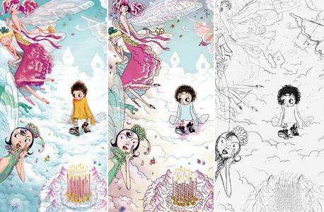 """שלבי העבודה על אחד האיורים ב""""טינקרטנק"""": גרסת עיפרון, גרסת צבע ראשונית והאיור המושלם. למטה: בטי בופ, אחת ההשראות לסגנון של הספר"""