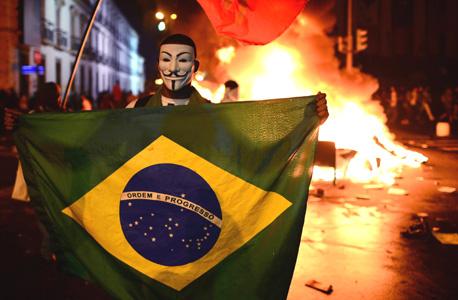 """מחאות בברזיל. פוגעות בספונסרים של פיפ""""א, צילום: איי אף פי"""