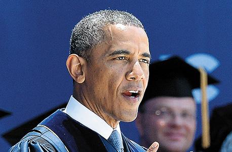 """נשיא ארה""""ב ברק אובמה ב טקס הענקת תארים של אוניברסיטת ארווין בקליפורניה, צילום: אי אף פי"""