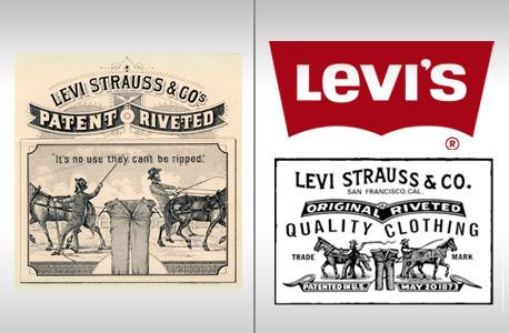 """הלוגו של ליוויס. אנשים היו מבקשים את """"המכנסיים עם שני הסוסים"""""""