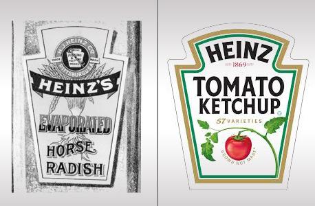 הלוגו של היינץ מ-1869 לצד הלוגו המעודכן