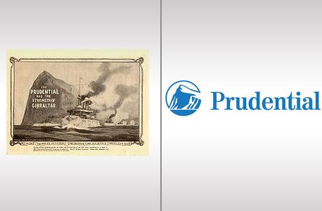 הלוגו של פרודנשיאל מ-1986, לצד הלוגו של היום. החברה בחרה בסלע גיברלטר משום שהוא מסמל כוח, יציבות, מומחיות וחדשנות