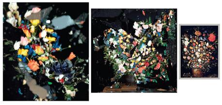 """בוקה. ציור של יאן ברויגל מ-1603 (מימין) ושתיים מהעבודות שגרשט יצר בהשראתו. """"כדי לשחזר בדיוק את הפרחים שבציור פיסלנו כל פרח בעבודת יד מפלסטיק, משי ובד"""", צילום: אורי גרשט"""