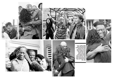 שמחת השחרור, אחרי שנים של מאסר שווא (מימין ועם כיוון השעון): לארי לירוי פטרסון (ריצה 16.5 שנה מתוך מאסר עולם), ג'רארד ריצ'רדסון (19 שנה מתוך 30), רוברט קלארק (23.5 שנה ממאסר עולם), ליסה מארי רוברטס (12 שנה מתוך 15), ביירון הלסי (19 שנה ממאסר עולם) ולארי פולר (19.5 שנה מתוך 50)
