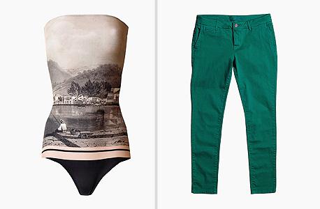 מימין: מכנסיים, 795 שקל, ב-13 Numero; משמאל: בגד ים של אדריאנה דגראס, 1,050 שקל, בבנקר