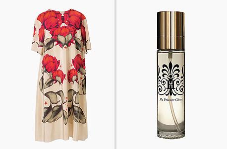 מימין: מבשם אוויר וגוף, 149 שקל, בארון של חגית במתחם אין אנד אאוט; משמאל: שמלה של אלנה אקמדולינה, 4,688 שקל, בוויינגולד שואו רום