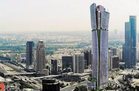 הדמיית המגדל בין הרחובות בגין וז'בוטינסקי ברמת גן