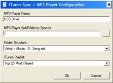 iTunesSync מאפשרת לסנכרן רשימת השמעה אחת ב-iTunes עם כל התקן אחסון חיצוני