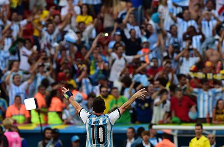 ליאו מסי נבחרת ארגנטניה חוגג 2014, צילום: אי אף פי