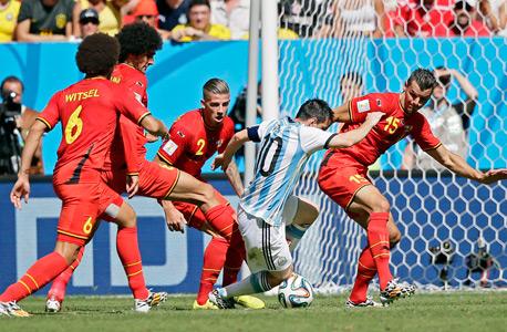 ליאו מסי נגד נבחרת בלגיה מונדיאל 2014, צילום: אי פי איי