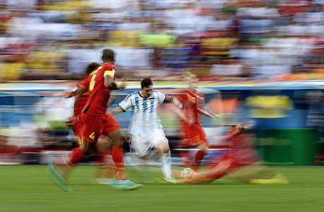 ליאו מסי נגד נבחרת בלגיה מונדיאל 2014, צילום: איי אף פי