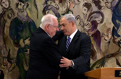 רובי ריבלין ובנימין נתניהו בהשבעה לנשיאות בכנסת, צילום: אי פי איי
