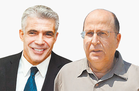 משה בוגי יעלון שר הביטחון ויאיר לפיד שר האוצר