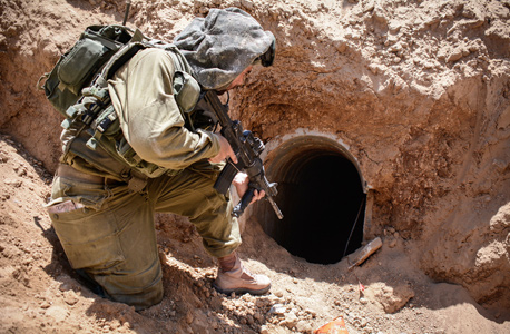 Israeli soldier near a tunnel in Gaza