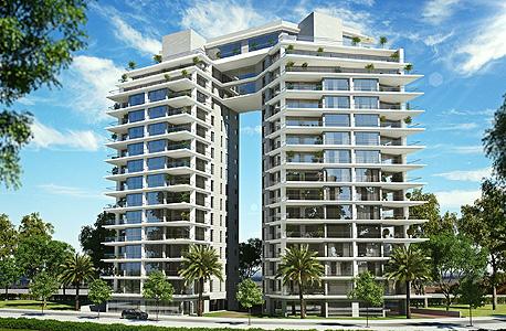 הדמיית הפרויקט בנתניה. 724 אלף שקל לקרקע לכל יחידת דיור, לפני עלויות הבנייה