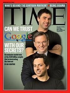 שער מגזין TIME העוסק בגוגל ובפגיעתה בפרטיות המשתמש
