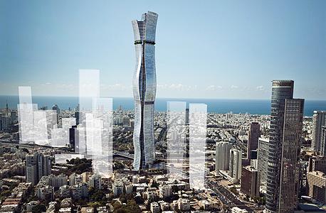 הדמיה של המגדל והבניינים שיקיפו אותו. שלוש הפאות פונות לשלוש ערים