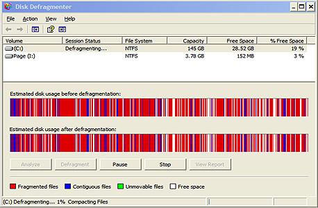 איחוי הכונן הראשי באמצעות הכלי המובנה של XP