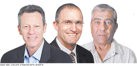 """מנכ""""ל י.ח דמרי יגאל דמרי (מימין), מנכ""""ל אפריקה ישראל מגורים אורן הוד ומנכ""""ל אזורים דרור נגל, צילום: חיים הורנשטיין, סיון פרג"""