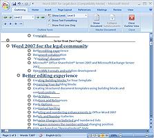 תמונה: תצוגת Outline ב-Word 2007