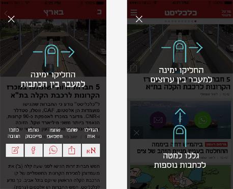 מסך עזרה הדרכה אפליקציה כלכליסט