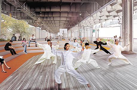 צ'יינטאון. האזור המתויר ימוגן על ידי סדרה של קירות מתקפלים שיירדו מהגשר ויהוו מחסום לסופה ולמים. מתחת לגשר יוקם אזור תרבות ומסחר עם צביון מזרח־אסייתי