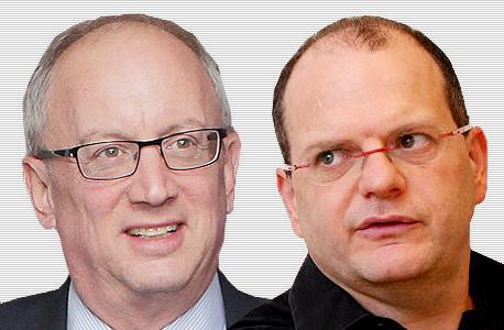 """מימין גיל שויד יו""""ר צ'ק פויינט ו יוסי ביינרט מנכ""""ל הבורסה, צילום: עמית שעל, אוראל כהן"""