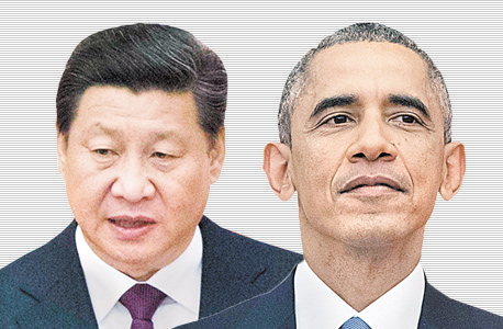 """מימין נשיא ארה""""ב ברק אובמה ו נשיא סין שי ג'ינפינג, צילום: איי פי, איי אף פי"""