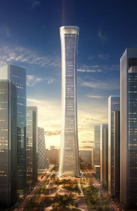זון בסינית הוא בקבוק יין עתיק שהמראה שלו היווה את ההשראה לעיצוב המגדל. לאחר סיום הבנייה, הוא יהפוך למגדל השני הגבוה ביותר בצפון סין., צילום: Kohn Pedersen Fox Associats