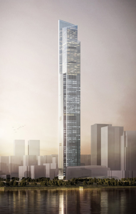 """המגדל אמור לכלול את המעלית המהירה ביותר בעולם, שתנוע במהירות של 72.5 קמ""""ש. הנסיעה מהקומה הראשונה לקומה ה-95 תיארך 43 שניות., צילום: Kohn Pedersen Fox Associats"""