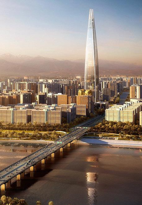 עלות הבנייה של המגדל מוערכת בכ-1.25 מיליארד דולר, והוא אמור עתיד להשקיף על קו האופק של סיאול. תכנון המגדל והכנת השטח ארכו 13 שנה, צילום: Kohn Pedersen Fox Associats