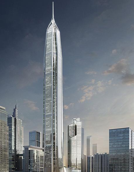 המבנה שבשלבי בנייה יעלה 678 מיליון דולר, ולאחר סיום הבנייה ייחשב לאחד המגדלים, צילום: Kohn Pedersen Fox Associats