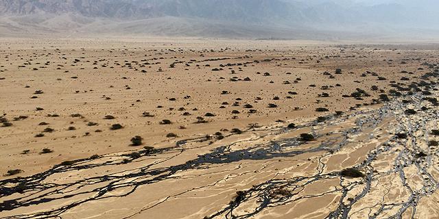 דליפת הנפט בשמורת עברונה, צילום: אי פי איי