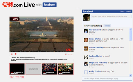 מסך השידורים החיים של סי.אן.אן ברשת מטקס השבעת ברק אובמה, צילום מסך: cnn.com