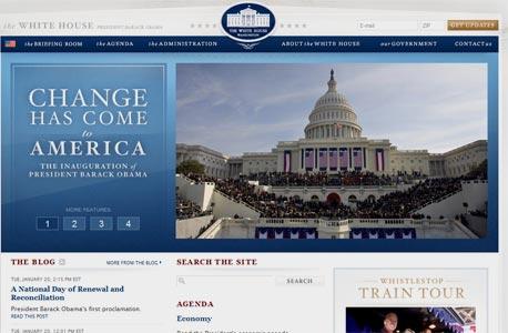 אתר הבית הלבן החדש, צילום מסך: http://www.whitehouse.gov/
