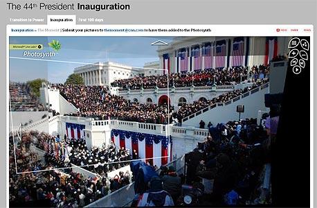 צילום מטקס ההשבעה של ברק אובמה באתר CNN, צילום מסך: cnn.com