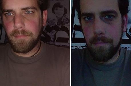 מימין: צילום בתאורה בעייתית, צילום עם הפלאש הקדמי