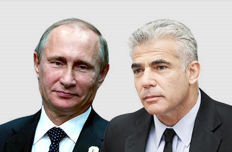 מימין יאיר לפיד ו ולדימיר פוטין, צילום: אלכס קולומויסקי, בלומברג
