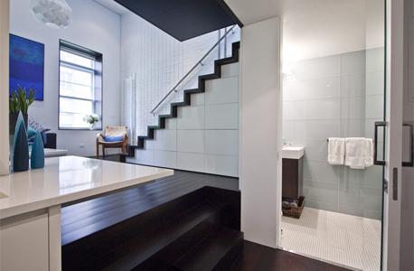 המקלחון מימין לכניסה, מול המטבח. אין מקום לאמבטיה, אך המקלחון מרשים. מצד ימין יש מראה ממנה נשקף הסלון, השוכן מצד שמאל של התמונה, צילום: design-milk.com